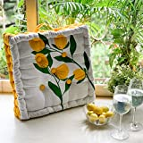 PIXEL HOME Square Floor Cushions 40 x 40 x 8 cm - Natural Cotton Printed Design with Cotton Filler, Meditation, Yoga, Pooja, Guests, Living Room, Bedroom (Lemon Printed) (Lemon Print)