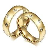 Bishilin Mode Paarepreis Edelstahl Ringe für Homosexual mit Weiß Zirkonia Hochglanzpoliert Breite 6MM Rund Verlobung Ringe Ehering Paarringe Gold Größe 54 (17.2) & Größe 67 (21.3)