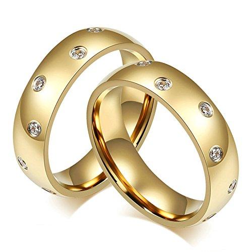 cke Edelstahl Ring für Ihn Homosexual mit Weiß Zirkonia Hochglanzpoliert Breite 6MM Rund Trauring Paarringe Freundschaft Gold Größe 52 (16.6) & Größe 52 (16.6) ()