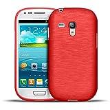 Samsung Galaxy S3 Mini TPU Gummi Hülle Rot, Metall Optik Brush Design, Schutzcover Bumper, Handyhülle aus Silikon Galaxy S3 Mini Cover Rückschale Rot, Samsung Galaxy S3 Mini (4,0 Zoll (10,2 cm)