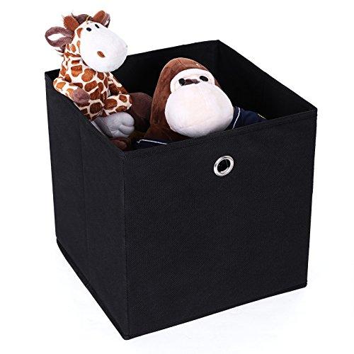 Songmics Juego de 6 cajas de almacenaje Cubos de tela Plegable 30 x 30 x 30 cm Negro RFB02H-3