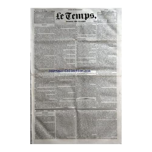 TEMPS (LE) [No 1752] du 05/08/1834 - BULLETIN - 4 AOUT - DU CHOIX DU PRESIDENT DE LA CHAMBRE - FEUILLETON 5 AOUT 1834 - PHILOLOGIE DE KA LIBERTE DE LA PRESSE AVANT LOUIS XIV.