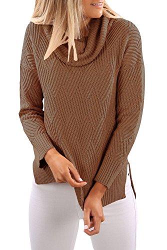 Khaki Cowl Neck Side Split Pullover Größe 38-40 (Pullover Neck Wolle Cowl)