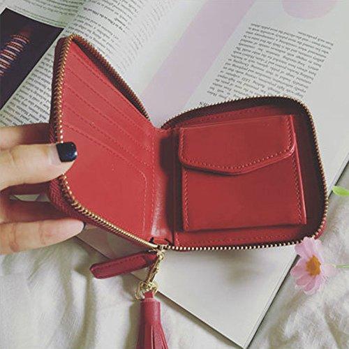 Portafoglio borsa del supporto della carta del raccoglitore di cuoio della mini magica delle donne (viola) Rosa chiaro