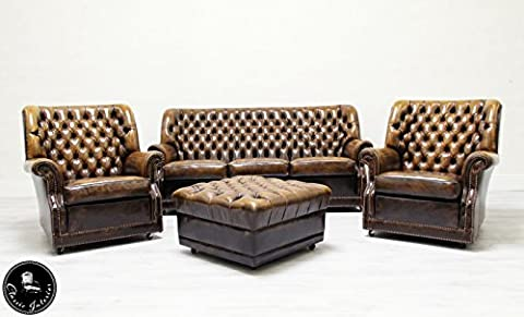 Chesterfield Chippendale Sofa Leder Antik Barock Sessel Garnitur