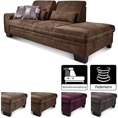 CAVADORE Recamiere Hussum mit Armlehne links / Sofa mit Federkern im Landhausstil / Inkl. verstellbare Sitztiefe  / 228 x 90 x 109 / Braun -