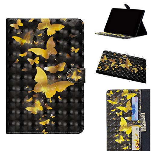 Galaxy Tab S4 10.5 SM-T830/T835-Tablet Hülle ,ShinyCase Slim Lightweight Schutzhülle 3D PU Leder Shell Cover Tasche Etui Goldschmetterling Design Flip Case mit Auto Sleep/Wake up Funktion Ständer Bookstyle Handyhülle Tasche Protective Shell Folio Klapphülle Bumper Case Cover für Samsung Galaxy Tab S4 10.5 SM-T830/SM-T835 (2018 Modell) Tablet (10.5-Zoll)