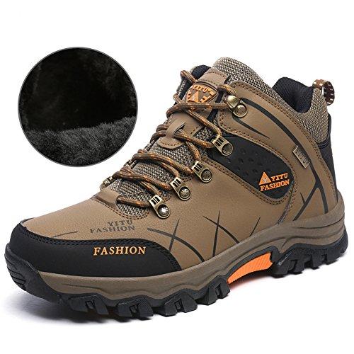 Laiwodun Herren Trekking Wanderschuhe Sports Outdoor Wasserdicht Gleitsicher Stiefel mit perfekter Dämpfung Dicker (Thicker,Braun 44)