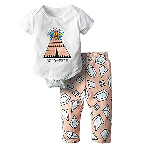 BIG ELEPHANT Baby Mädchen 2 Stück Grafik Kurzarm Hose Kleidung Set H71