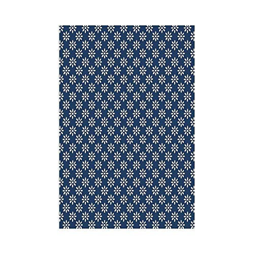 VAICR Home Garden Indigo Ancient Greek House Tile Inspired Image Spring Daisy Like Floral Details Navy Blue and Whiteor Deko Süße Garten Flagge -