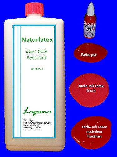 Flüssiglatex 1 Liter LATEX Natur + 20ml Mixol Echt-Rot Latexmilch Naturgummi Flüssig flüssiges Liquid Gummimilch Sockenstopp