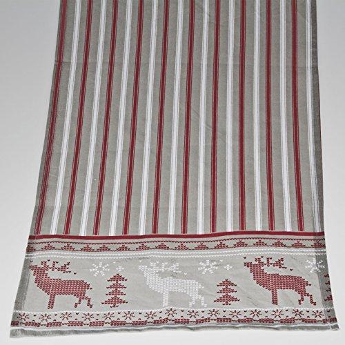 'Cerf' Chemin de table, Coton, gris, 139 x 41 cm