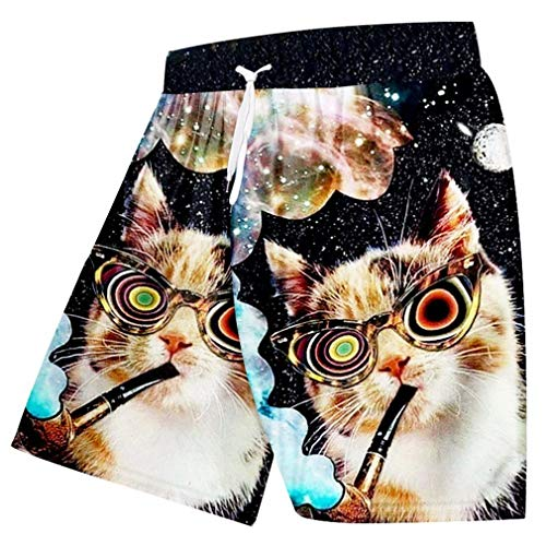 Männer Sommer Casual Shorts Cool Print Galaxy Space 3D Strand Shorts Tier Katze Bermuda Shorts Schnell trockene Boxer Hose Galaxy Space Cat S