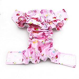 ISABELLE Couches Pantalon Culotte sanitaire physiologique Pantalons Couche Réutilisable pour Chiot chienne animal femelle