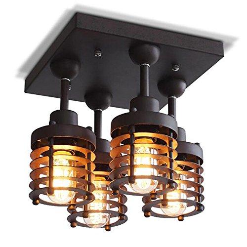 Deckenleuchten YANGFEIFEI Bürodeckenleuchten Amerikanisches Land Industrie Eisenkunst Retro DACHBODEN Kleidung Shop Wohnzimmer Flurbeleuchtung Kreativ 4 Lampen Birne enthalten