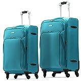 Set 2 Trolley Valige Sanpoints colore Azzurro Guscio Morbido 4 Ruote Manico Regolabile doppio scompartimento Estendibile Chiusura con combinazione immagine