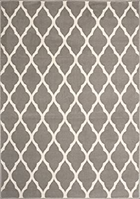 Milan Soft Touch Grey Brown Taupe Classic Grey Trellis Geometric Print Rug produced by The Rug House - quick delivery from UK.