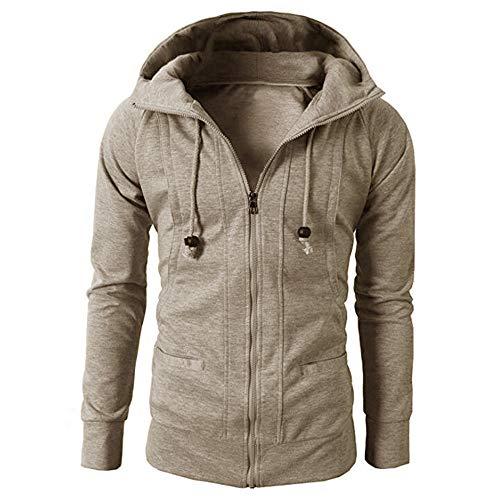 IMJONO Fashion Mens ' Herbst Winter Lange Ärmel Sport Zipper Hoodie Pullover Bluse Tops (EU-44/CN-S,Khaki)