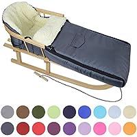 BAMBINIWELT KOMBI-ANGEBOT Holz-Schlitten mit Rückenlehne & Zugseil + universaler Winterfußsack (108cm), auch geeignet für Babyschale, Kinderwagen, Buggy, aus Wolle UNI