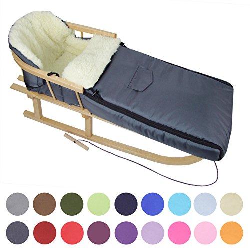 BAMBINIWELT Kombi-Angebot Holz-Schlitten mit Rückenlehne & Zugseil + universaler Winterfußsack (108cm), auch geeignet für Babyschale, Kinderwagen, Buggy, aus Wolle Uni (dunkelgrau)