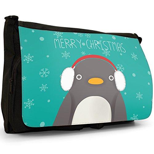 """A forma di fiocchi di neve con scritta """"Merry Christmas"""", colore: nero, Borsa Messenger-Borsa a tracolla in tela, borsa per Laptop, scuola Nero (Penguin Wearing Ear Muffs)"""