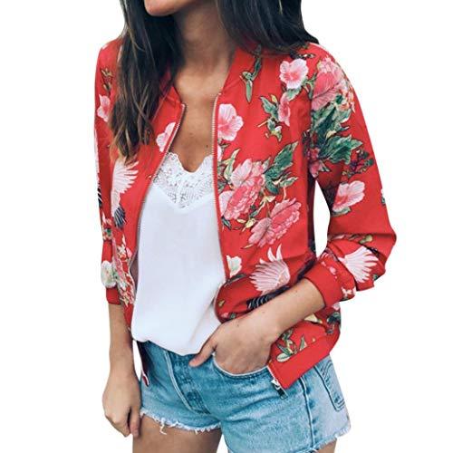 Damen Frühling jacke FORH Frauen Elegant Blumenmuster bedruckte Baseball Mantel Mode Stehkragen Langarm Bomber jacke Kurz Cardigan Reißverschluss sommerjacke Herbst Mantel(Rot,L) (Verkauf Blumen-mädchen-kleid Auf)
