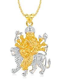 VK Jewels Maa Durga Gold And Rhodium Plated Alloy Pendant With Chain For Women [VKP2450G]