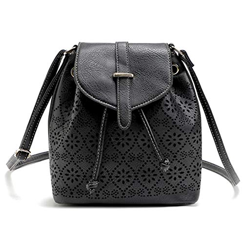 XingYue Direct Damenmode aushöhlen Muster Leder Eimer Tasche Schulter Messenger Hobo Satchel (Color : Black, Size : 26x22x11cm) - Unterschrift Hobo Handtasche
