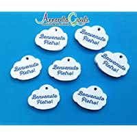 Cartellini nuvoletta personalizzati, bigliettini bomboniere, nuvola, tag, etichette,matrimonio, battesimo, comunione, cresima