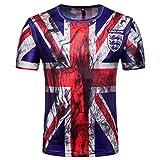 YuanDiann 2018 Calcio Coppa del Mondo Uomo Donna Tifosi Maglietta 3D Bandiera Nazionale Stampa Magliette Maniche Corte Girocollo Maglia T Shirt Inghilterra 2# M