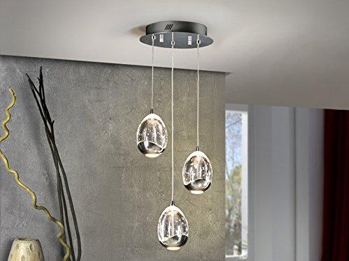 SCHULLER - Lámpara Colgante Colección Rocío Led 3 Luces, Color Cromo