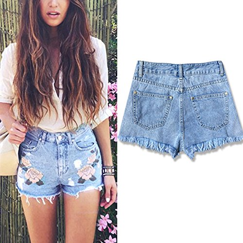 b1e3a4c44c872a ... iBaste Jeanshose Shorts Damen High Waist Denim Shorts Kurze Hose  Hotpants damen Jeans Hose Blau ...