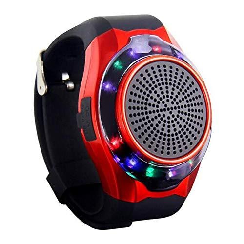 qiyanWrist Watch Haut-Parleur Bluetooth sans Fil Portable Extérieur Mini Haut-Parleur LED LED Clignotant Lights-in Portable Haut-parleurs Rouge