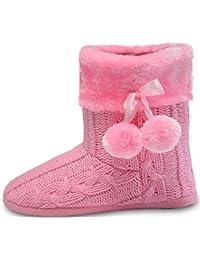 Pantuflas Mujer Zapatillas de Estar por casa de Mujer con Bordes del Tejido de Punto y