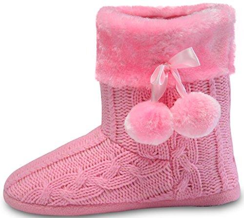 Hausschuhe Damen Pantoffeln Stiefel Schuhe mit weichen Pom Poms Slippers Airee Fairee, Gr. EU 36-37.5 (S), Hellrosa - Pom Bootie