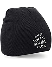 Anti Social Social Club Embroidered Black Beanie Wooly Hat Winter Fashion