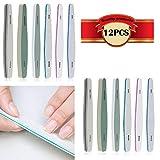 KINYOOO Kit de limas de uñas de doble cara (12 Pcs) 150/180/200/240/280/1000/4000, set de pedicura de manicura cosmética para el cuidado de las uñas.