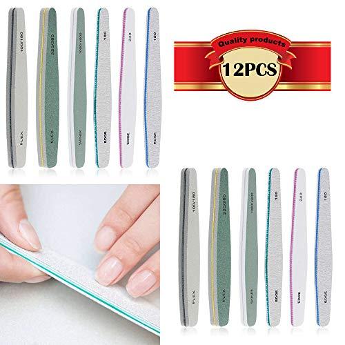Kinyooo®lima per unghie, gel per unghie, set professionale nail buffer file blocco naturale per manicure nail lucidatrice lavabile su due lati, grana 100/150/180/220/240/280/1000/4000 buffer (12 pcs)