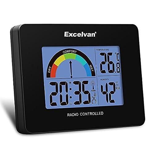 Excelvan Réveil Radio-Piloté Digital Mural & Bureau Thermomètre & Hygromètre à Piles avec Mètre Coloré de Confort Température Humidité Calendrier Heure Jour - Noir