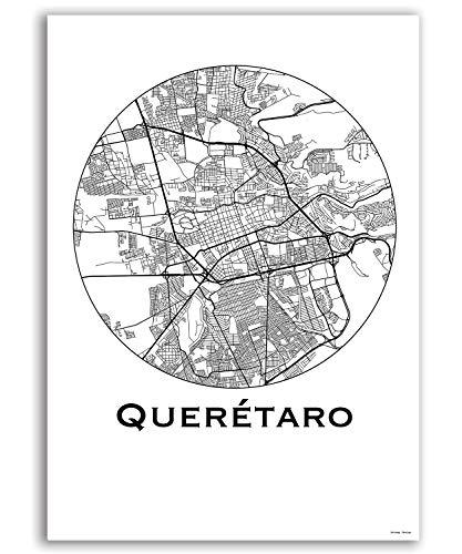 Plakat Queretaro Mexiko Minimalist Map - Poster, City Map, Dekoration, Geschenk