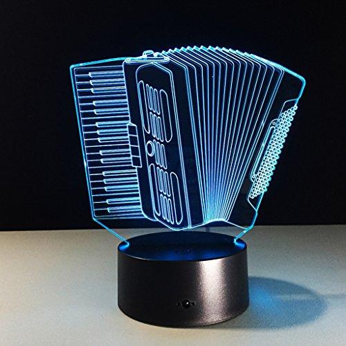 ZNND USB Lade 3D Illusionseffekt Akkordeon Nachtlicht 7 Farbwechsel Kinder Baby Zimmer Dekoration