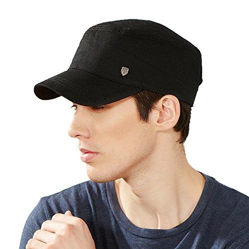 Kenmont été Unisexe Homme 100% Coton Noir Visière Cadet Cap militaire Hat