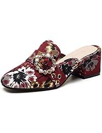 Qingchunhuangtang@@ Bordados Zapatillas Bordadas con Toallas Frías y Baotou Semi Zapatillas,Thirty-Eight,Flor...