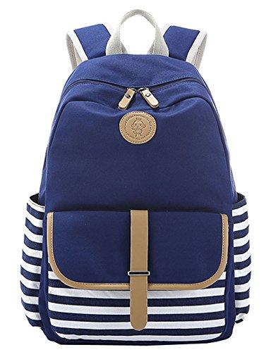 Greeniris femmes vintage sac à dos toile cartable pour fille collège Bleu