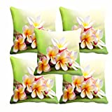 #10: meSleep White Flower Cushion Cover(16 x 16) Set of 5
