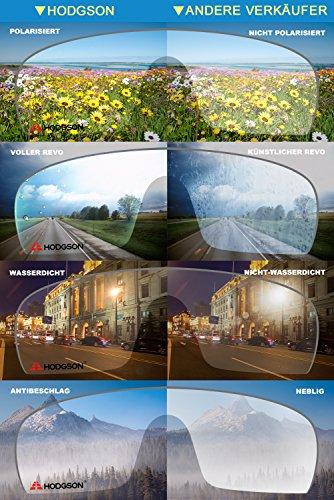 HODGSON Fahrradbrille Sport Sonnenbrille für Herren und Damen Polarisierte, Sportbrille mit 5 Wechselobjektiven und Radsports, Baseball, Laufen, Tr90-Rot … - 4