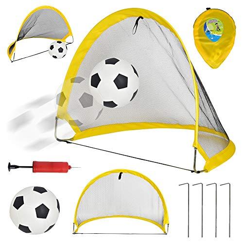 ZJY Zusammenklappbares, tragbares Pop-Up-Fußballtor mit Fußball-Inflator und elastischem Netz mit festen Nägeln - Geeignet, damit Kinder die Eltern-Kind-Interaktion ausüben können