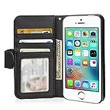 Etui iPhone SE, Flycool Portefeuille Housse Coque de Protection en Cuir pour iPhone SE