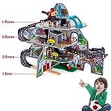 WDXIN Auto Giocattolo Garage Traccia del Treno Elettrico in Legno Mia magia Tuta Multistrato Giocattoli educativi Regalo di Compleanno per Bambini,4floors