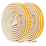 2 Rollos Forma de D 9 x7,5 mm de Burlete de Insonorización de Goma Adhesivo Espuma Tira Selladora Adhesiva de Ventana Burlete de Cinta EPDM, 10 m en Total